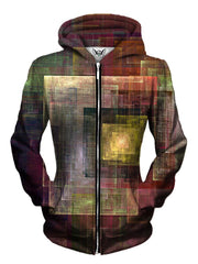 Brown And Yellow Abstract Zip Up For Women