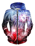 Beautiful Fourth Of July Fireworks Zip Up Hoodie