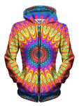Trippy Hippie Bright Womens Zip Up Hoodie