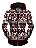Naughty Girls Maroon and White Christmas Zip Up Hoodie Front View