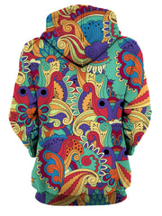 Rear of women's all over print rainbow paisley flower hoody.