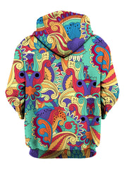 Back view of same psychedelic flower all over print hoody by Gratefully Dyed Apparel.