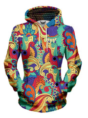 Women's front view of trippy retro flower pullover hoodie.