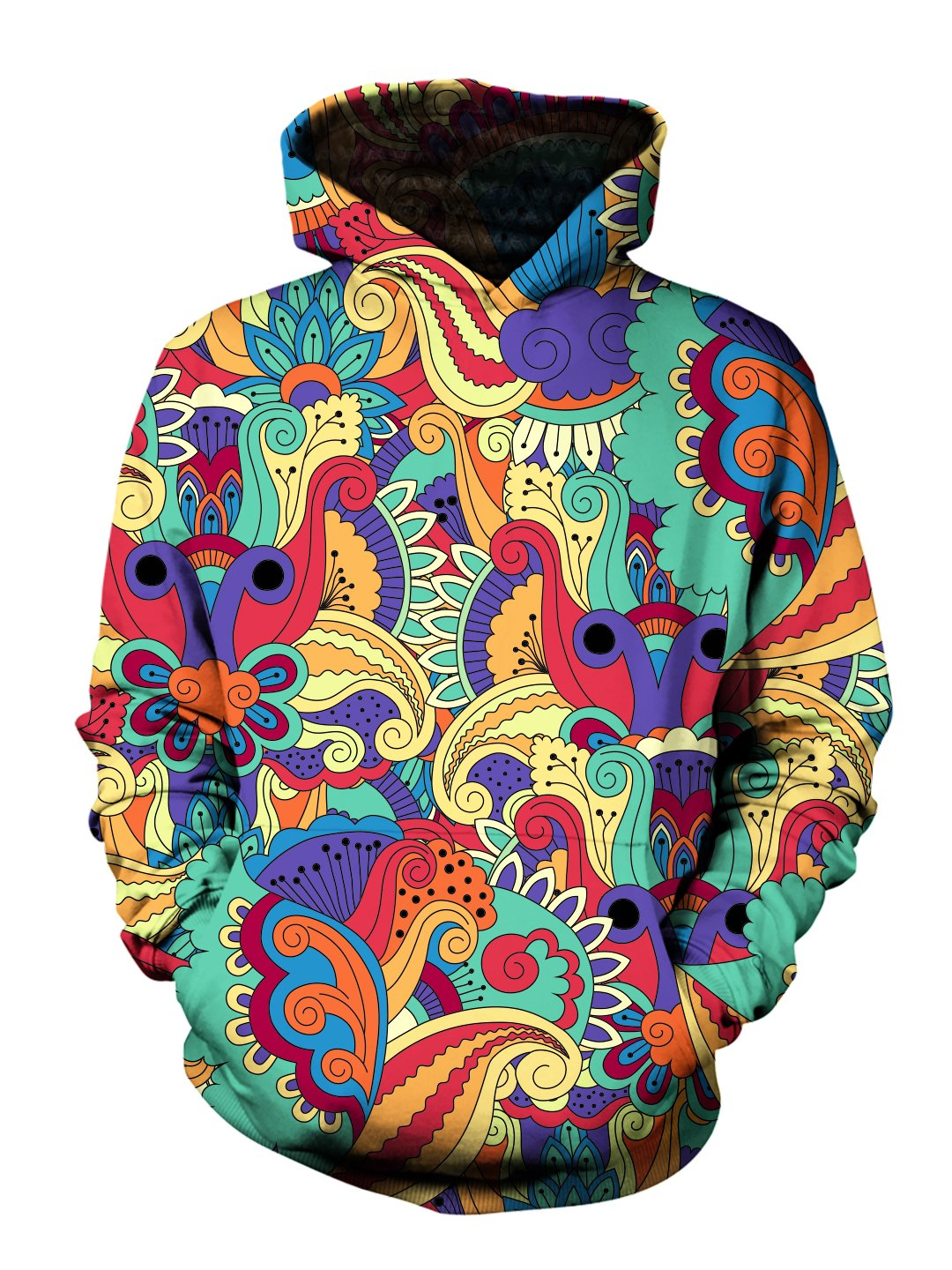 Men's rainbow paisley flower pullover hoodie front view.