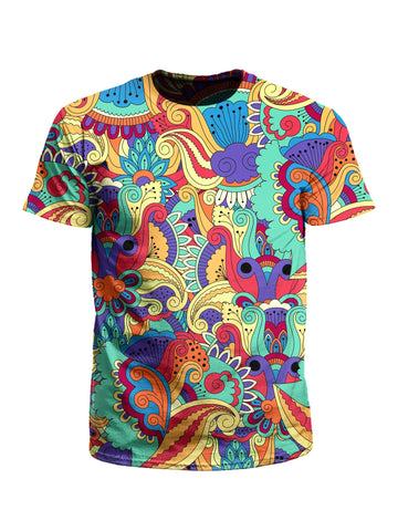 Men's rainbow paisley unisex t-shirt front view.
