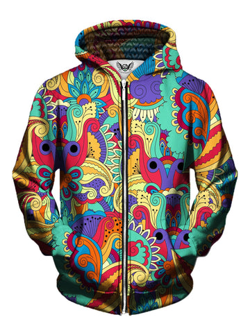 Men's rainbow paisley flower zip-up hoodie front view.