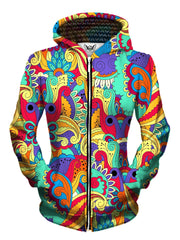 Front view of women's all over print psychedelic floral zip up hoody by Gratefully Dyed Apparel.