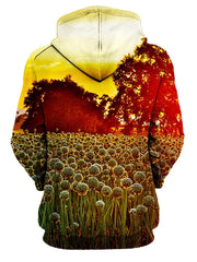 Rear of women's yellow  sky with wild flowers all over print hoody.