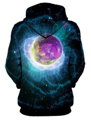 Rear of women's black with purple planet & nebula all over print hoody.