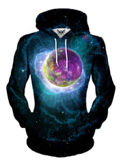 Women's front view of trippy space planet pullover hoodie.