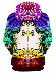Rear of women's rainbow & mirrored face art all over print hoody.