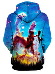 Rear of women's galactic nebula forest all over print hoody.