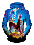 Women's front view of trippy forest galaxy pullover hoodie.