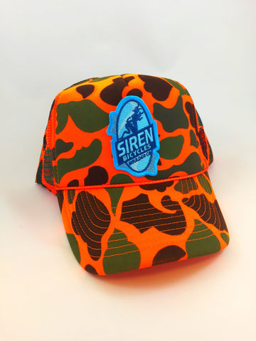SIREN ORANGE CAMO TRUCKER CAP