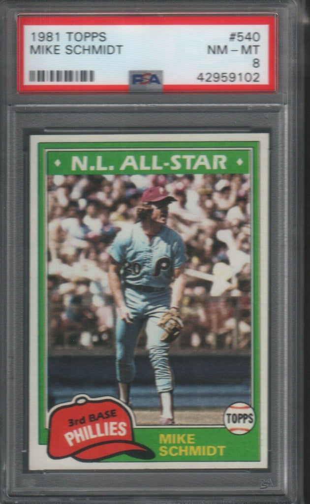 1981 Topps Mike Schmidt Phillies #540 PSA 8 051519DBCD