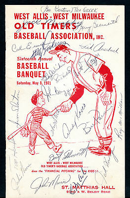 West Allis-West Milwaukee Baseball Banquet 1971 Signed Program w/coa jhc