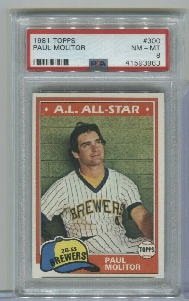 Paul Molitor Milwaukee Brewers 1981 Topps #300 PSA 8 120319DBCD