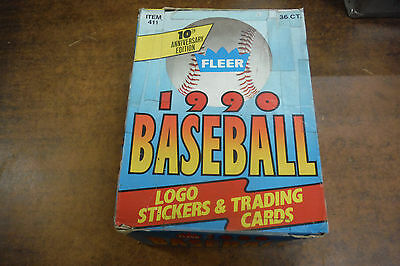 1990 Fleer Baseball Logo Stickers & Cards 36CT. Taped Box jh23