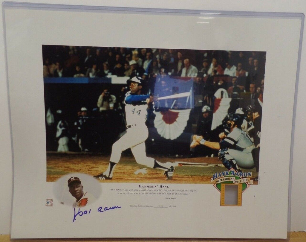 Hank Aaron Signed 16x20 Cooperstown Collection 1598/2500 Photo w/COA