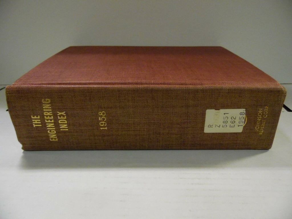 The Engineering Index 1958 American Society Mechanical Engineers FAA 102518AME7