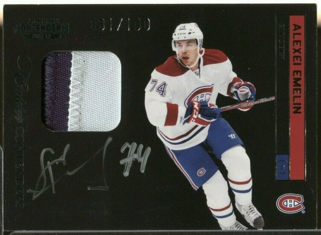 Akexei Emelin Canadiens Panini Contenders Signed Jersey 81/100 11-12 080919DBCD