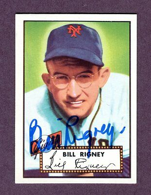 Autographed Signed 1952 Topps Reprint Series #125 Bill Rigney Giants w/coa jh33