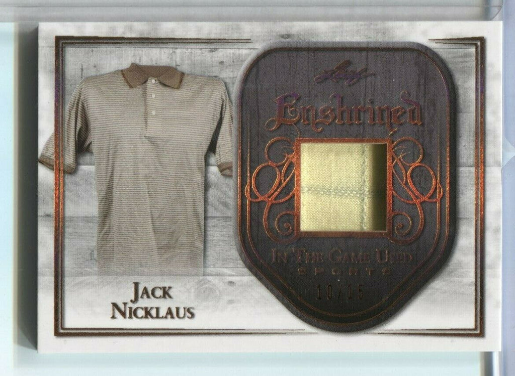 Jack Nicklaus Leaf Enshrined 10/15 Game Used Jersey Card E-16 2018 121719DBCD