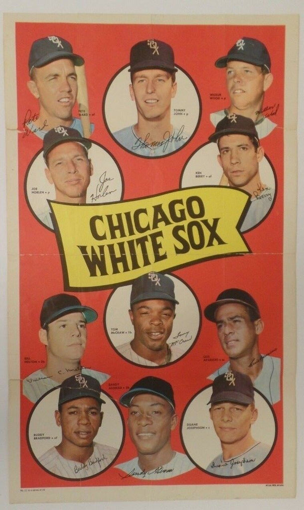 "Chicago White Sox 1969 Topps 12x20"" Poster #11 Original Tommy John Sandy Alomar"