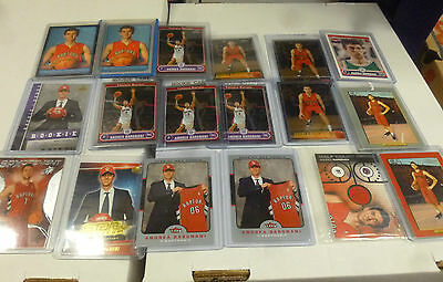Andrea Bargnani lot of 19 NBA rookie cards Topps Chrome & Bowman etc game used