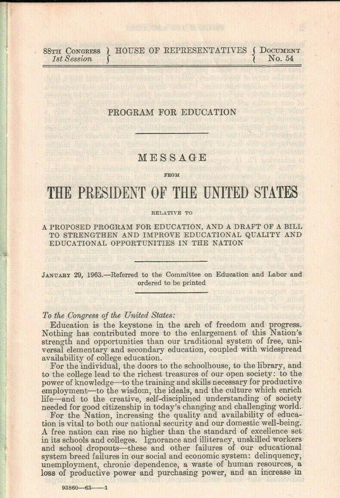 John F Kennedy on Education 1963 Message from the President 011320AME