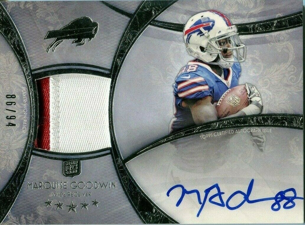Marquise Goodwin Bills Signed Jersey Rookie Card Topps 86/94 #136 '13 061819DBCD