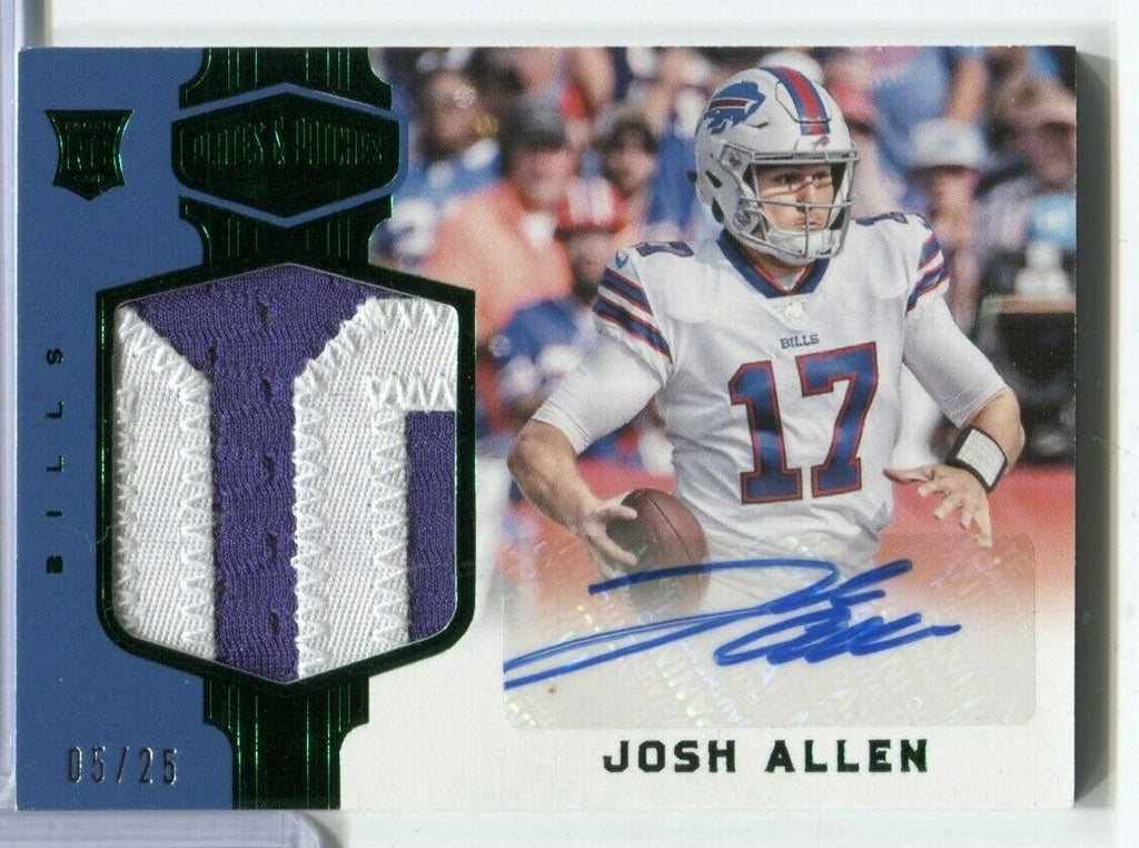 Josh Allen Bills Signed RC Green Plates & Patches #233 5/25 Panini 111419DBCD