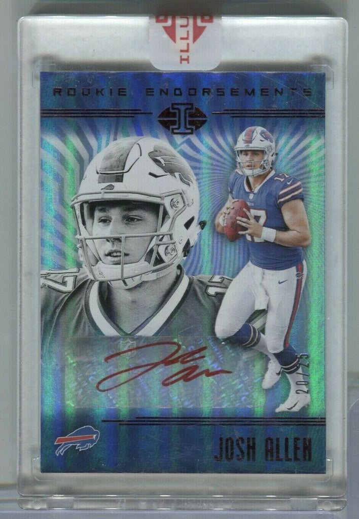 Josh Allen Buffalo Bills Autographed RC 20/25 RE-JA Panini 2018 111419DBCD