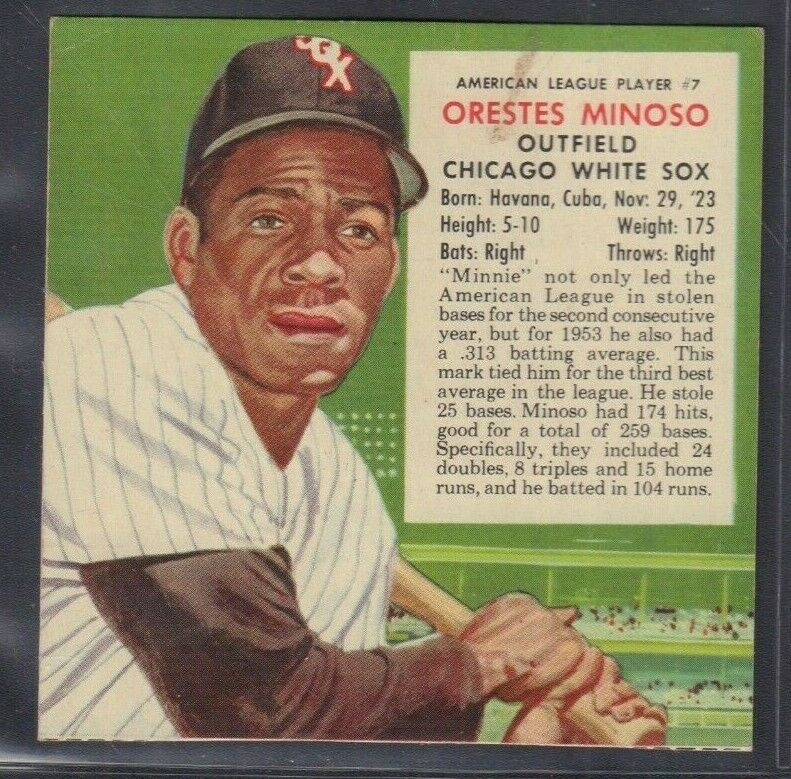 1955 Orestes Minoso White Sox Red Man Tobacco Cut Baseball Card 030819DBT