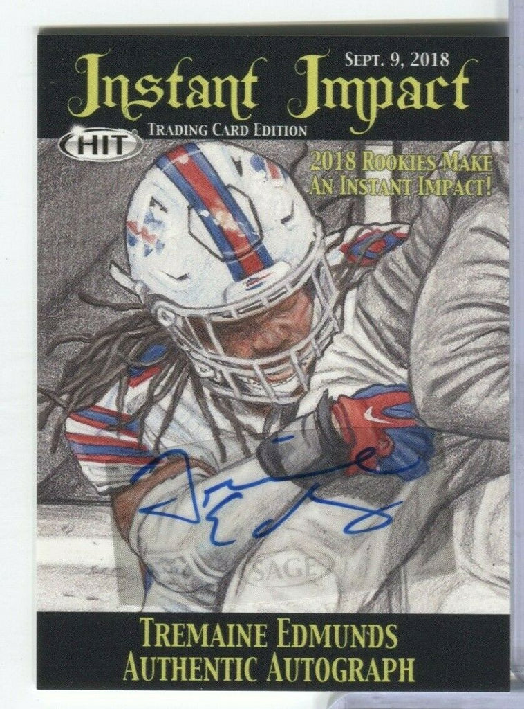 Tremaine Edmunds Bills Instant Impact Signed Card Sage IIA-TE2 Sage 100219DBCD2