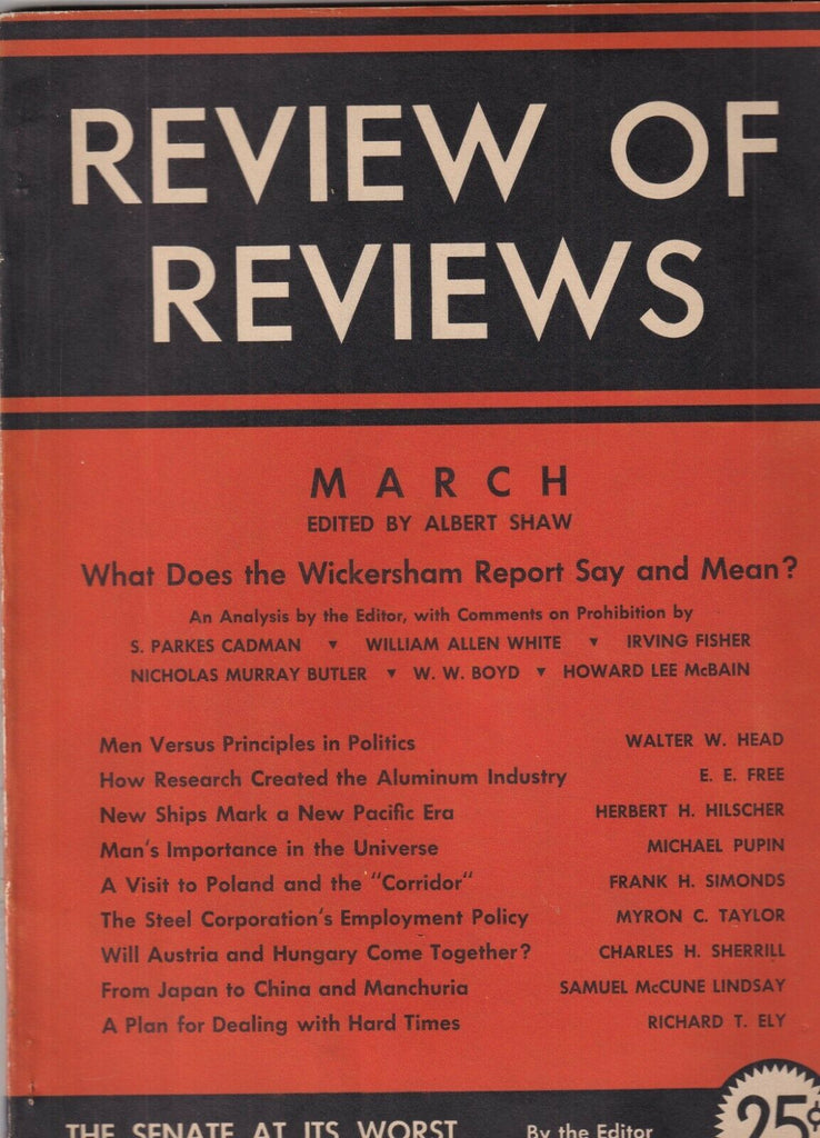 Review Of Reviews Mag What oes The Wickersham Report Mean March 1931 101519nonr