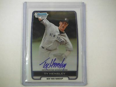 2012 1st Bowman Chrome Card Ty Hensley Autographed #BCA-TH TJ1