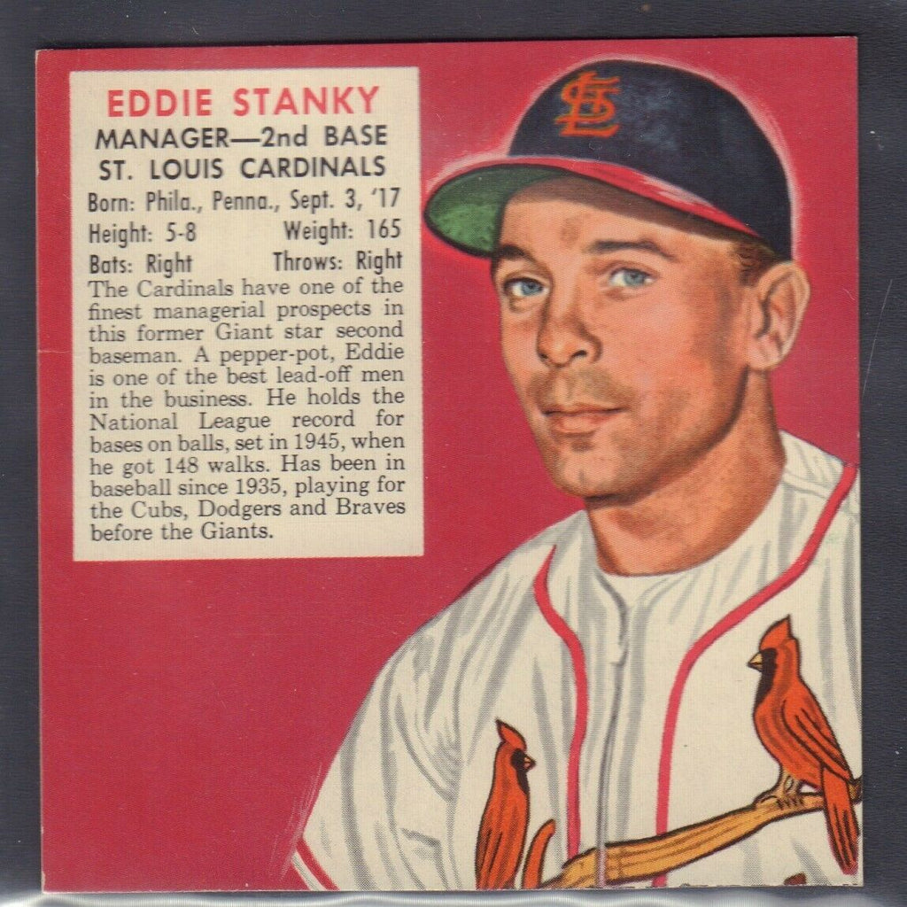 1953 Eddie Stanky St Louis Cardinals Red Man Tobacco Cut Baseball Card 030819DBT