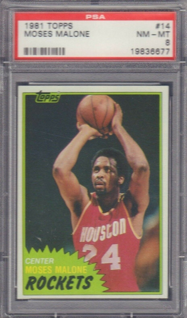 Moses Malone Houston Rockets 1981 TOPPS #14 PSA 8 012419DBT3