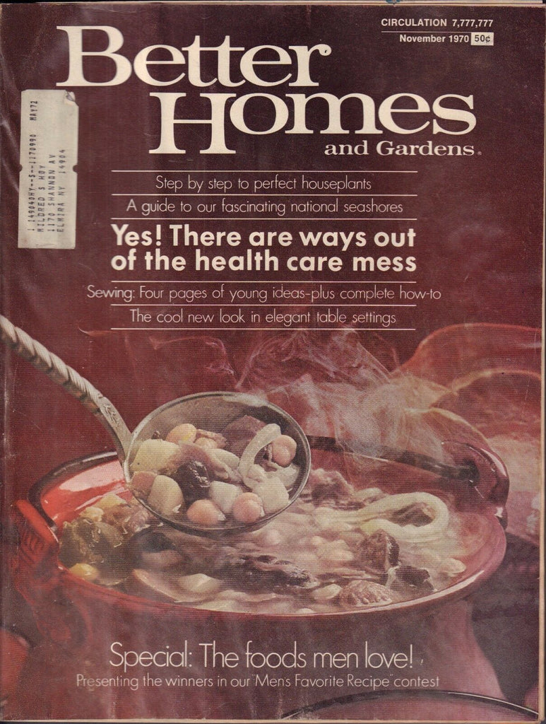 Better Homes and Gardens November 1970 The Foods Men Love w/ML 011117DBE