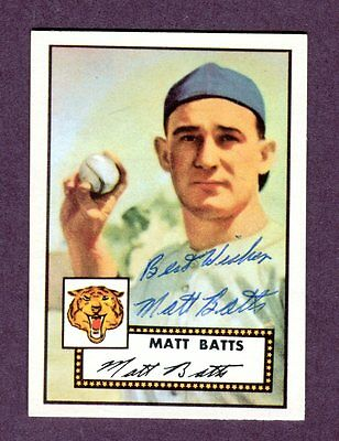 Autographed Signed 1952 Topps Reprint Series #230 Matt Batts Tigers w/coa jh33
