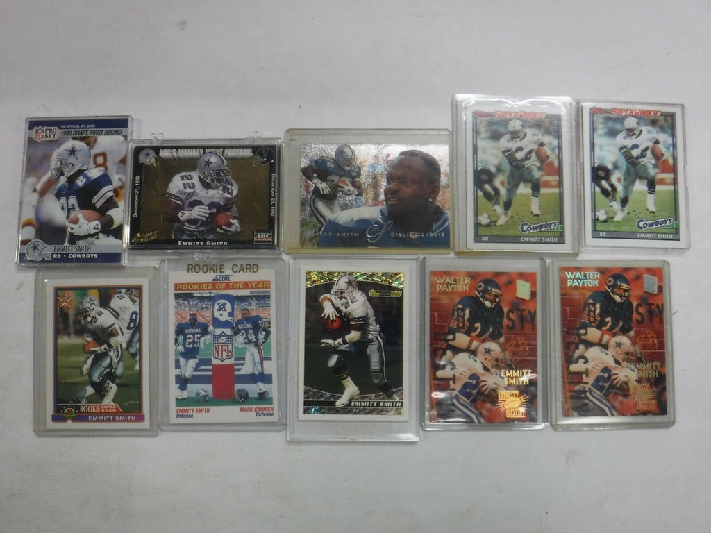 Lot Of 10 Emmitt Smith Cowboys Football Cards w/Rookies jh33