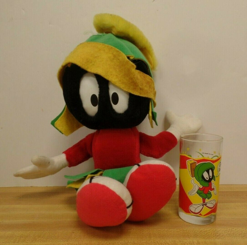 "Marvin The Martian Loonie Tunes Lot of 5"" Glass & 17"" Applause Plush 031319DBT"