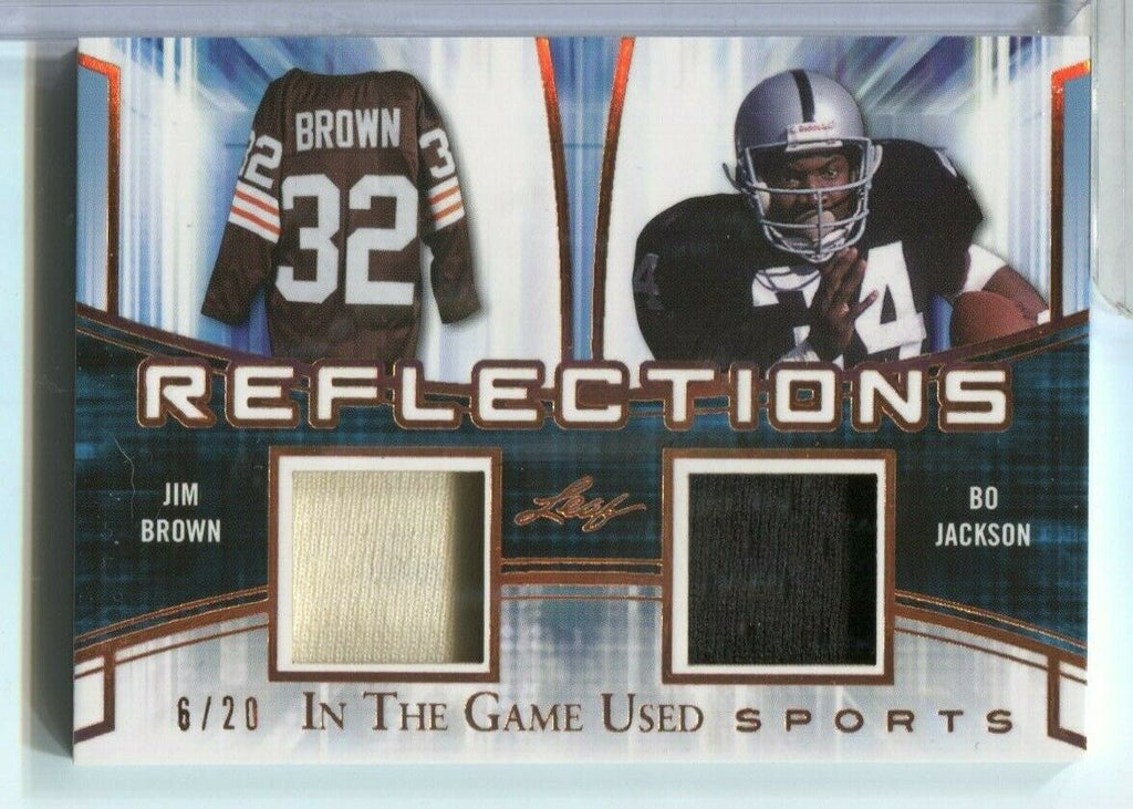 Jim Brown Bo Jackson Double Jersey Card Reflections Leaf 6/20 R-19 120619DBCD