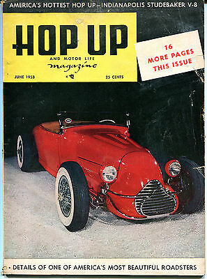 Hop Up and Motor Life Magazine June 1953 Most Beautiful Roadster VGEX 122215jhe