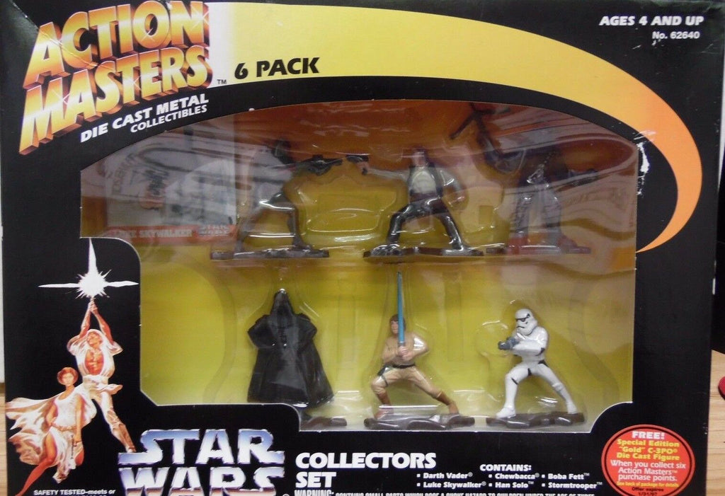Action Masters Die Cast 6 pack Star Wars Collectors Set Fett, Vader 112217DBSW6