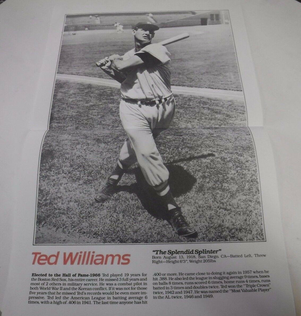 Ted Williams Paper Photo Poster Foldout 11 x 17 Splendid Splinter 101617jh