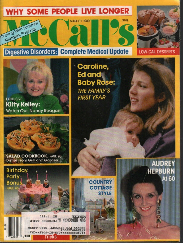 McCall's August 1989 Kitty Kelley Audrey Hepburn Caroline Kennedy 011720AME3