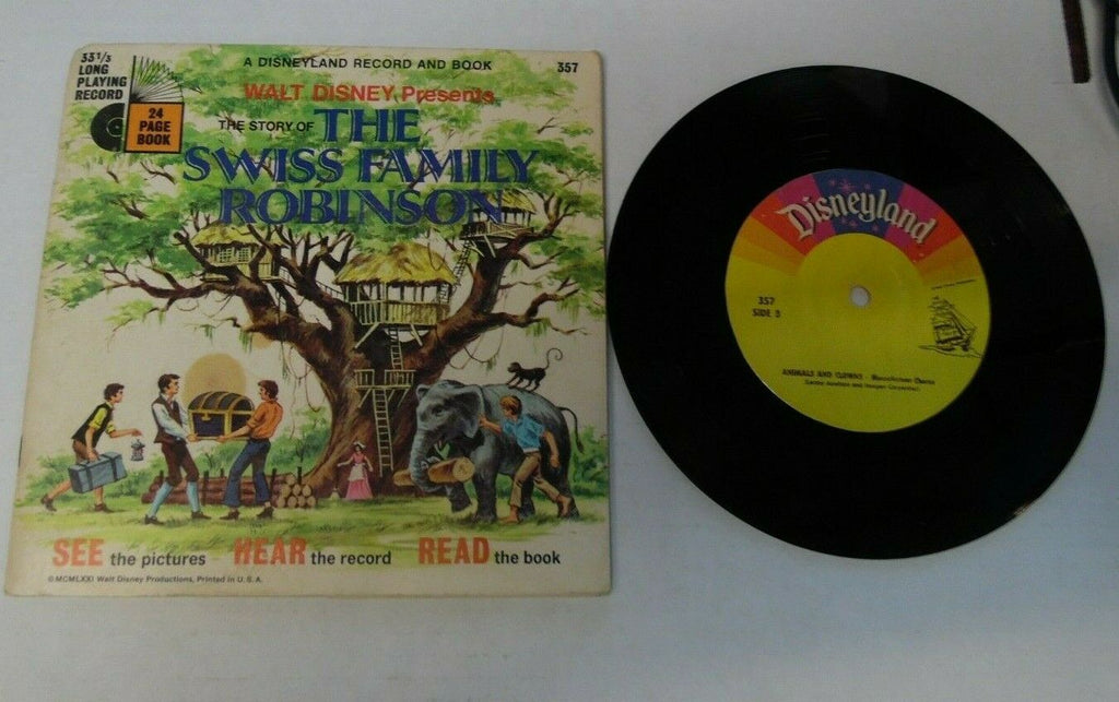 Story of Swiss Family Robinson Walt Disney 33 1/3 rpm and book 022920LLE45