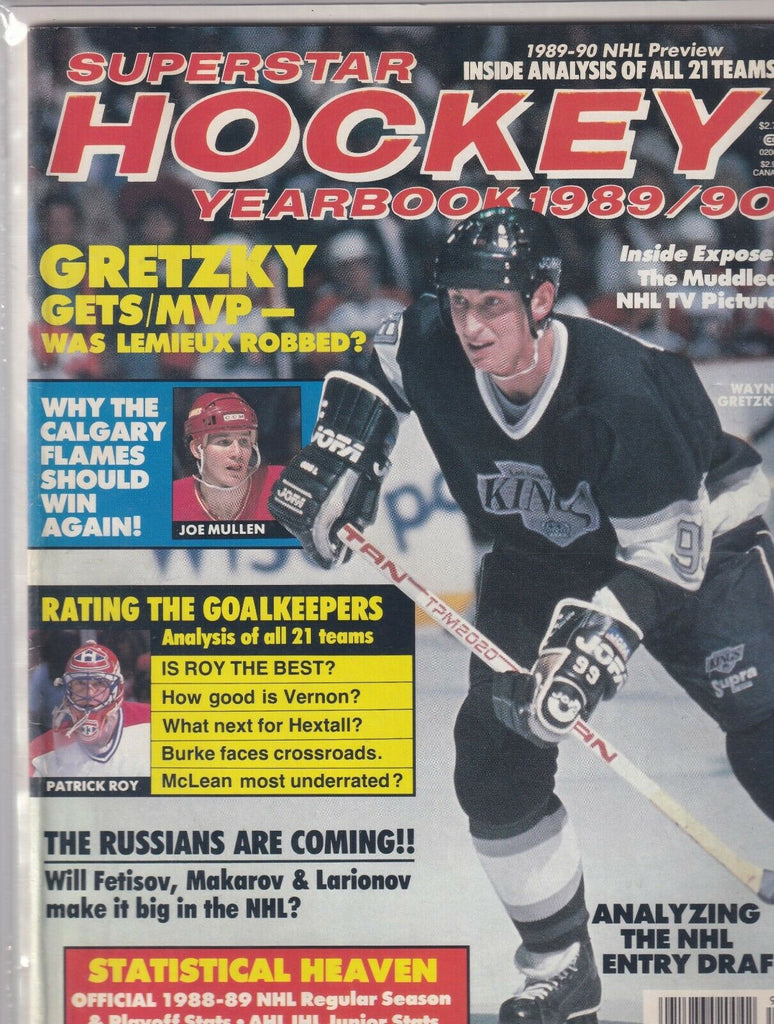 Superstar Hockey Yearbook Wayne Gretzky Joe Mullen 1989-1990 070419nonr